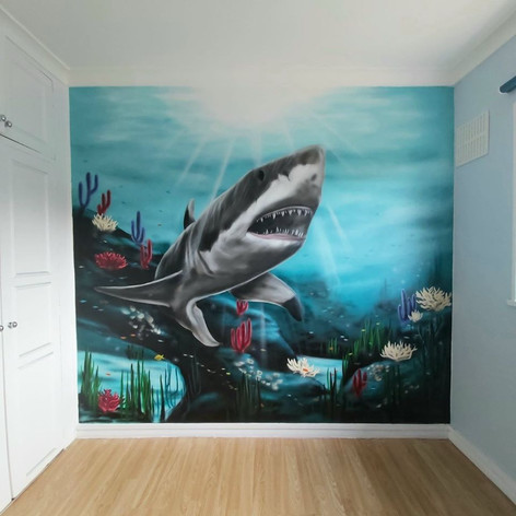 Shark Interior Hand Painted Mural