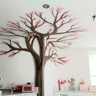 Cherry Blossom Tree Ceiling Interior Hand Painted Mural