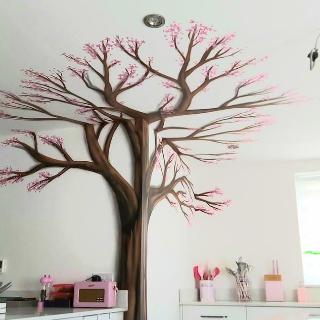 Cherry Blossom Tree Interior Hand Painted Mural