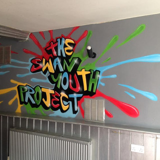 The Swan Youth Project Interior Hand Painted Mural