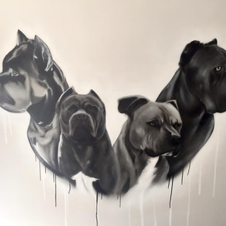 Dog Portrait Interior Hand Painted Mural