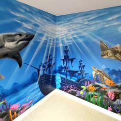 Underwater Themed Interior Hand Painted Mural