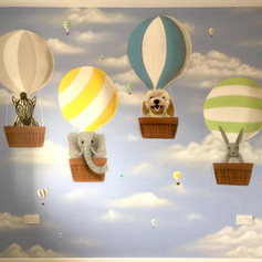 Hot Air Baloon Interior Hand Painted Mural