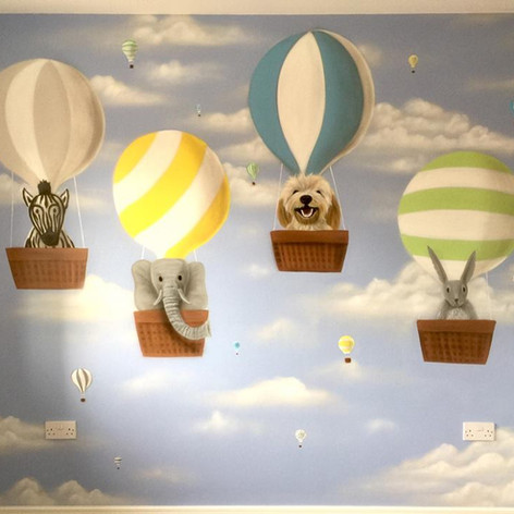 Hot Air Baloon Interior Hand Painted Mural