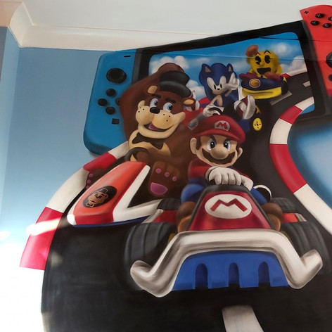 Super Mario Nintendo Switch Interior Hand Painted Mural
