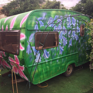 Playroom Caravan Exterior Hand Painted Mural