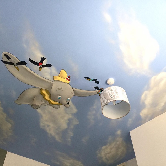 Dumbo Ceiling Interior Hand Painted Mural
