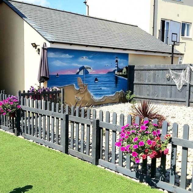 Beach Theme Exterior Hand Painted Mural