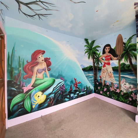 Moana and Little Mermaid Interior Wall Mural