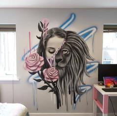 Portrait Lion Interior Hand Painted Mural