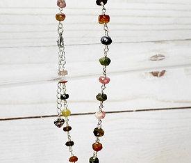 Gemstone Anklet Bracelet Multi Color Tourmaline 925 Silver