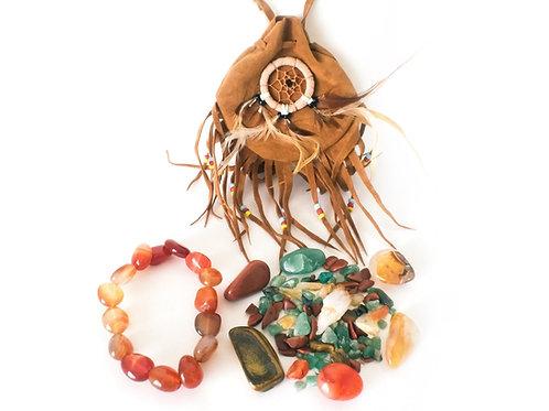 Prosperity Crystal Medicine Indian Pouch + Carnelian Bracelet
