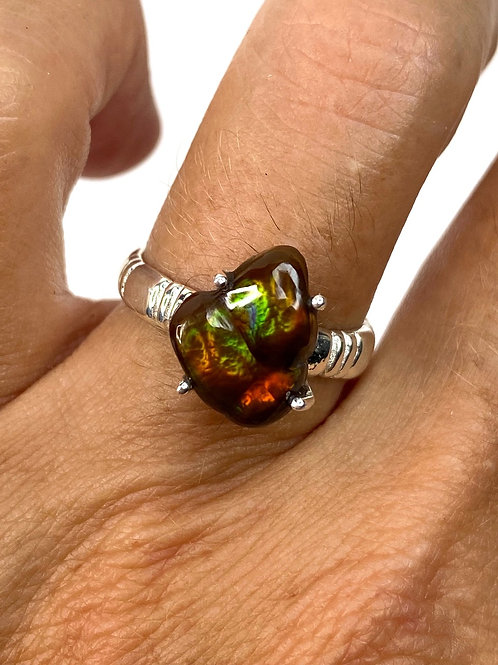 Mexican Fire Agate Ring Genuine