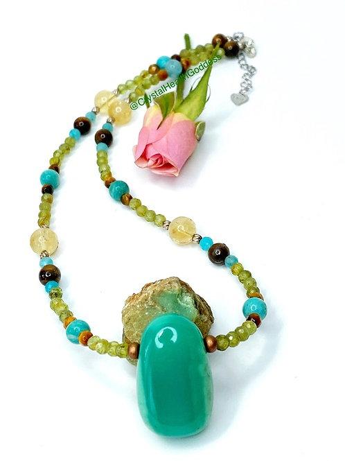 Green Prosperity Crystal Healing Necklace