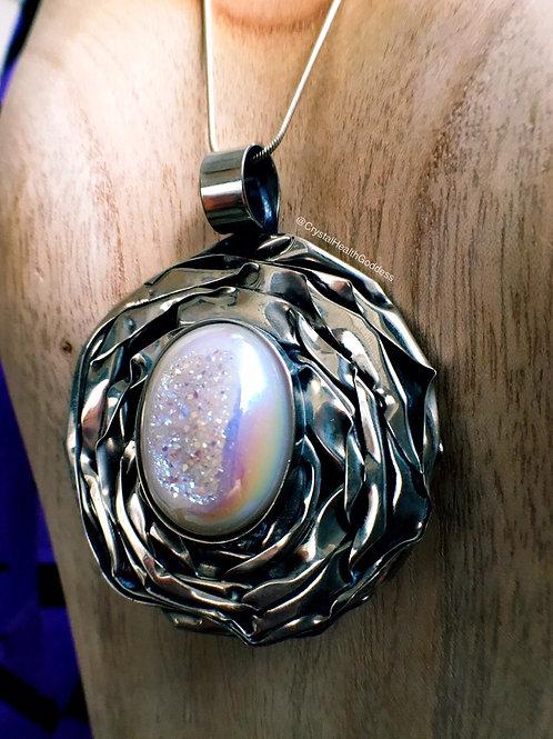 Rainbow Aura Quartz Druzy Handmade Statement Jewelry