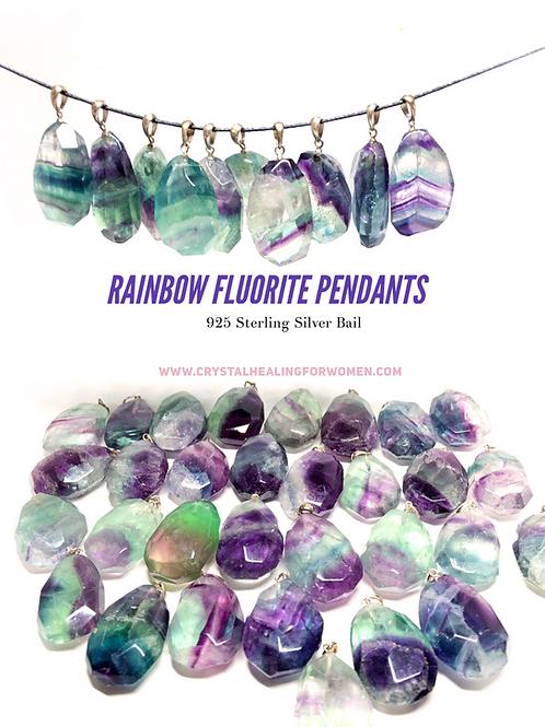 AAA Quality Rainbow Fluorite Pendant 925 Silver