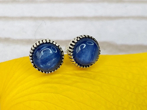 Blue Kyanite Stud Earrings 925 Sterling Silver