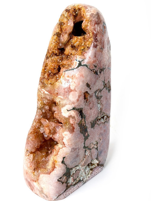 Pink Amethyst With Natural Citrine Geode Super Rare 1.10 Lb