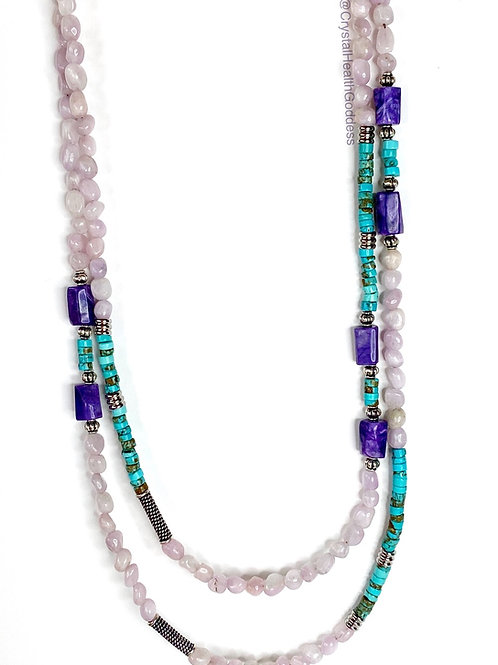 """Kunzite Turquoise Charoite 42"""" Long Necklace 925 Sterling Silver"""