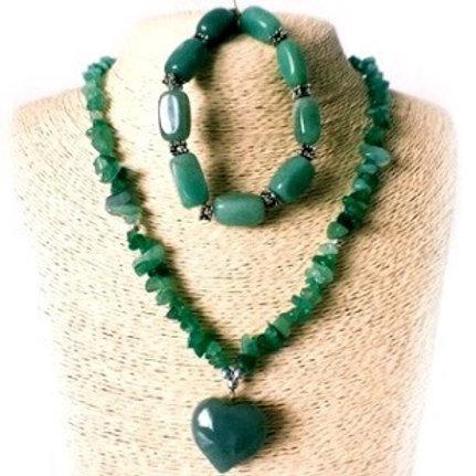 Aventurine Necklace Bracelet Jewelry Set