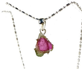 Watermelon Tourmaline Necklace Sterling Silver