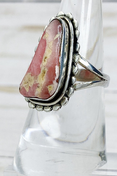 Gorgeous Rhodochrosite Ring. Made in 925 sterling Silver. Size 8