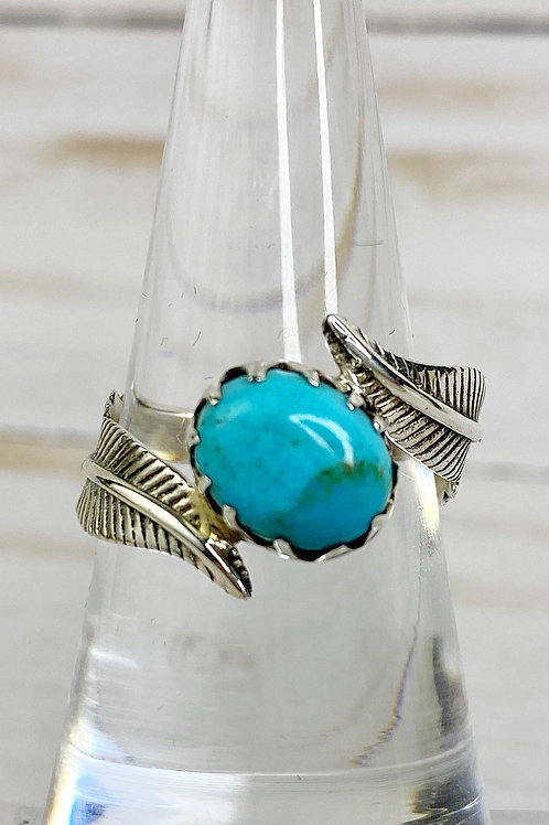 Genuine Mohave Turquoise Ring Size 8.5 Sterling Silver