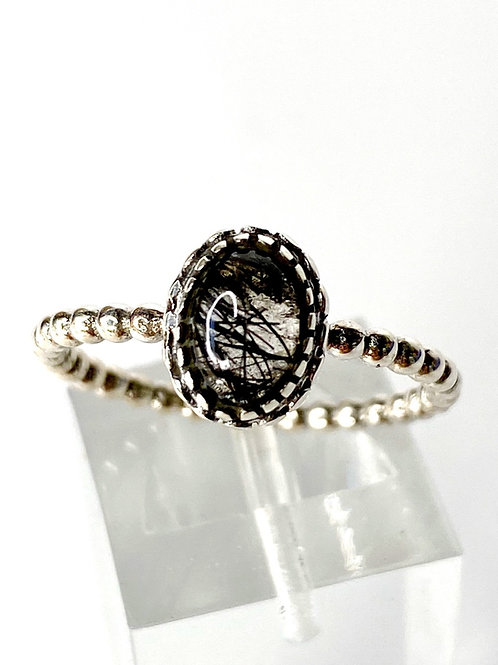 Tourmalinated Quartz Ring 925 Sterling Silver Size 8.5