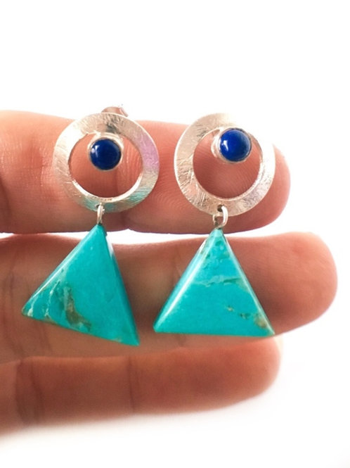 Turquoise Lapis lazuli Earrings 925 Sterling