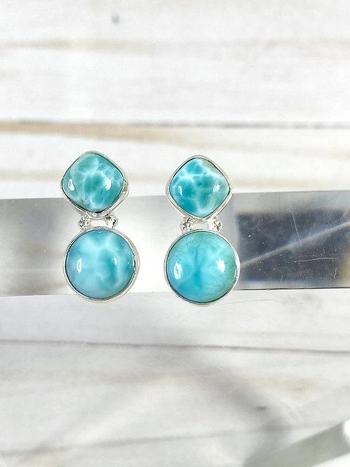 Larimar Genuine Earrings 925 Sterling Silver