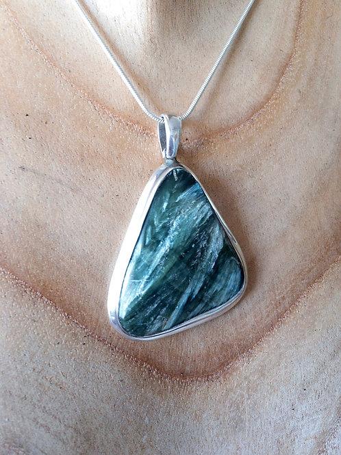Genuine Russian Seraphinite Pendant 925 Sterling Silver