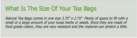 natural tea bags  size