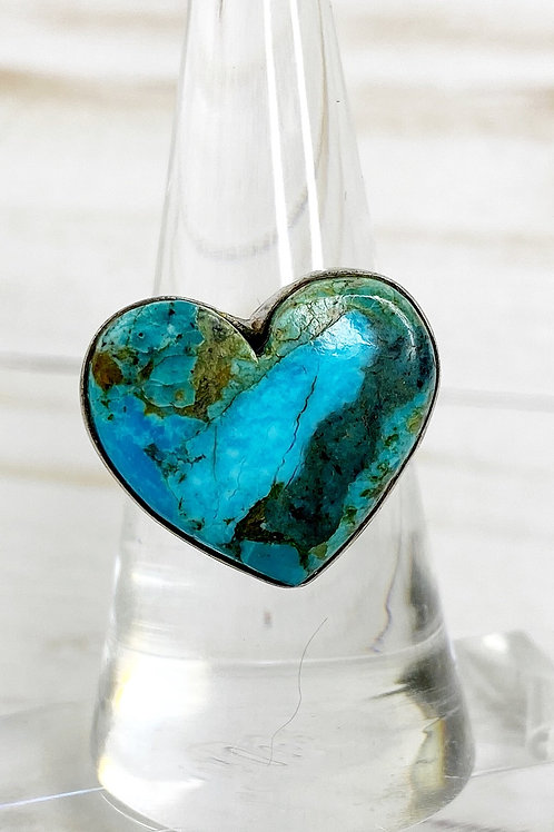 Natural Turquoise Heart Ring Size 8.5