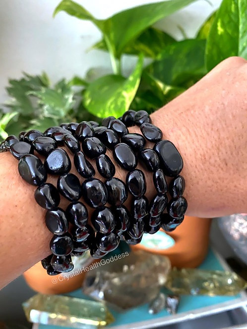 Black Tourmaline Tumbled Stone Bracelet