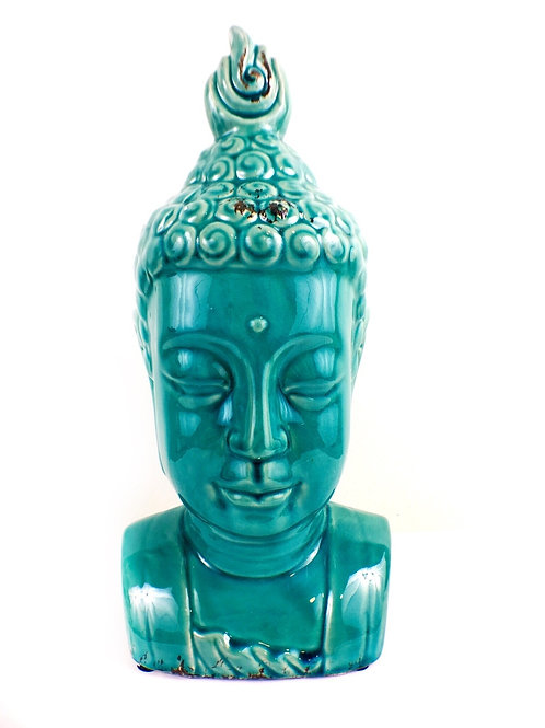 Large Buddha Bust Glaze Sculpture