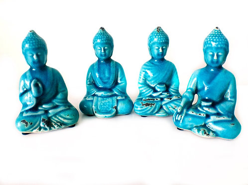 Buddha Figurine Set of 4 Vintage Finish