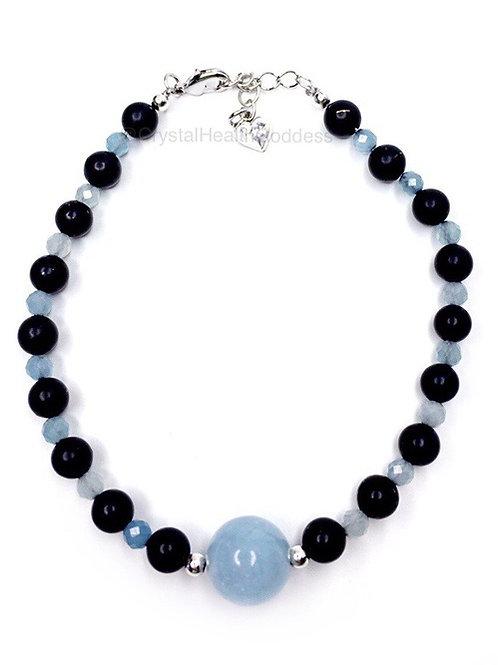 Shungite Bracelet Aquamarine 925 Sterling Silver