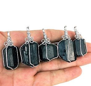 Black Tourmaline Wrap Pendant