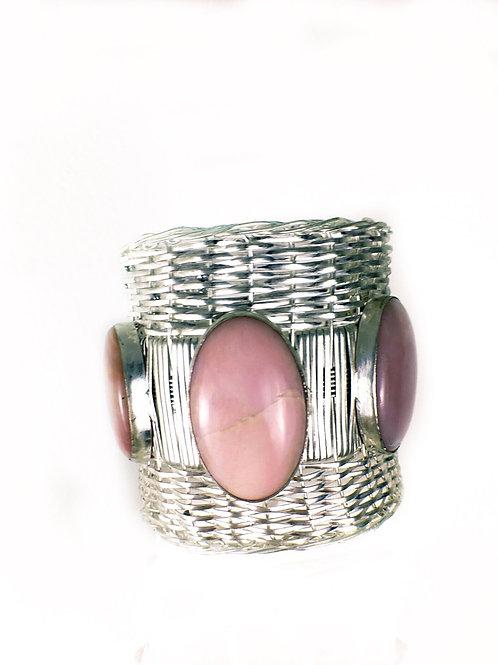 Peruvian Pink Opal Statement Bracelet