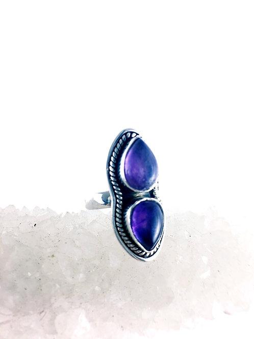 Amethyst Ring Deep Purple Size 8