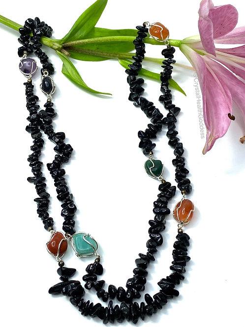 Black Tourmaline Chakra Crystals Necklace Long