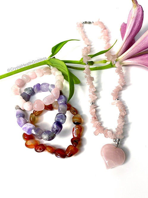 Rose Quartz Heart Necklace Plus 3 Gemstones Bracelets