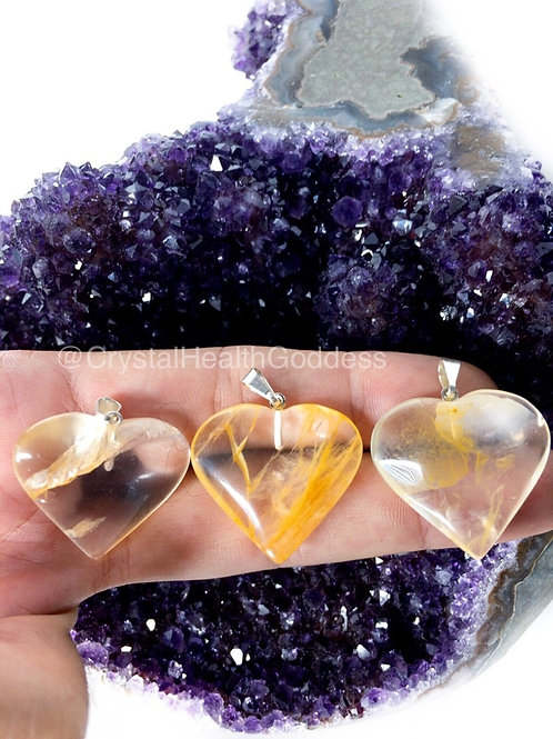 Golden Healer Quartz Heart Pendant 925 Sterling Silver Chain Included