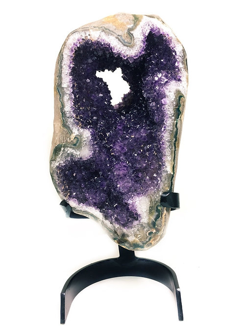 Amethyst Sculpture With Custom Metal Stand 23 Lb Spectacular