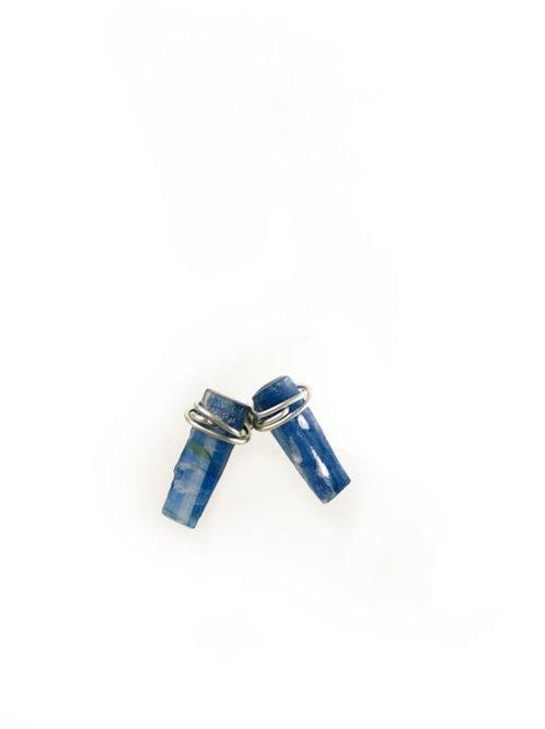 Blue Rough Kyanite Earrings 925 Sterling Silver