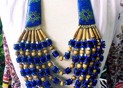 Lapis Lazuli Malachite Artisan Statement Necklace