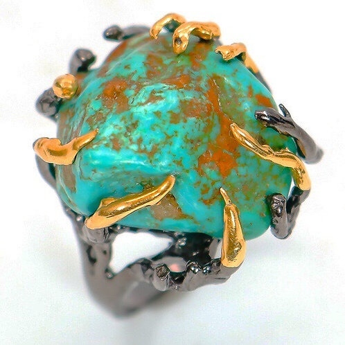Genuine Turquoise Statement Ring Size 7.5