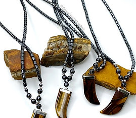 Tiger Eye and Hematite Necklace
