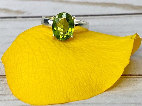 Green Peridot Engagement Ring Size 8