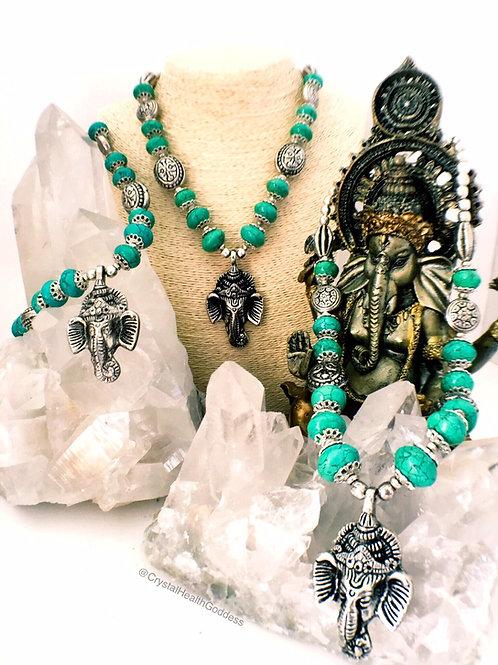 Turquoise Nepalese Elephant Necklace